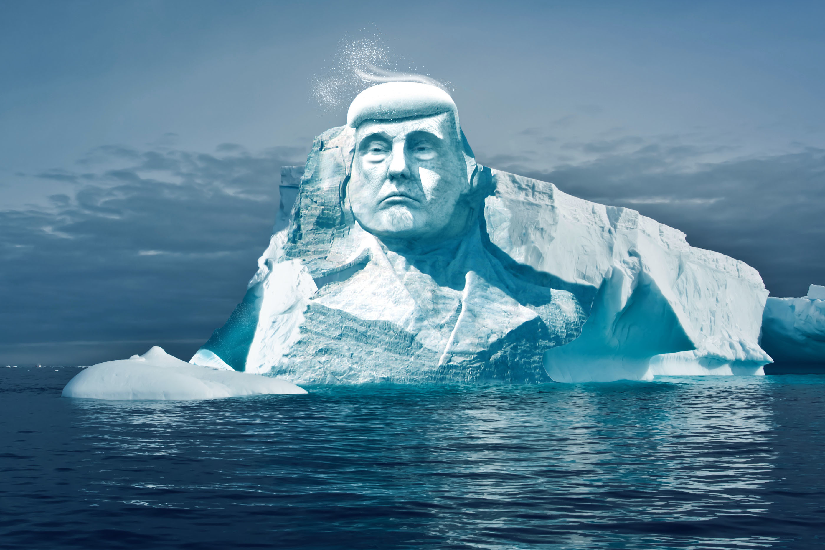 Финские экологи хотят высечь ледяную голову Трампа вАрктике