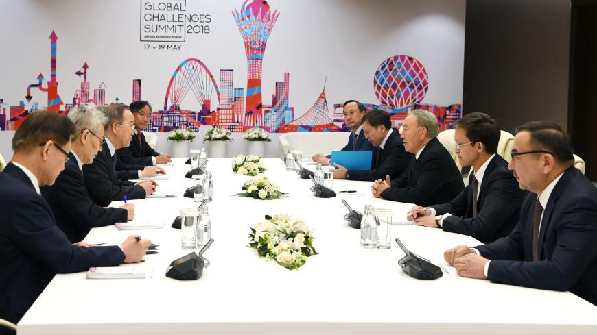 Назарбаев обсудил «зеленые технологии» с Пан Ги Муном и Олландом